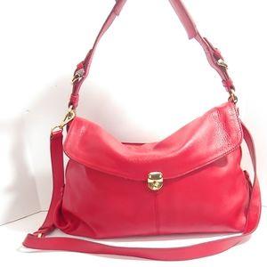 NWT Banana Republic red pebbled leather handbag